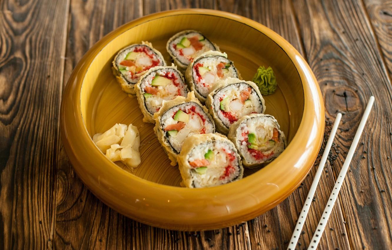 Photo wallpaper sticks, figure, delicious, rolls, salmon