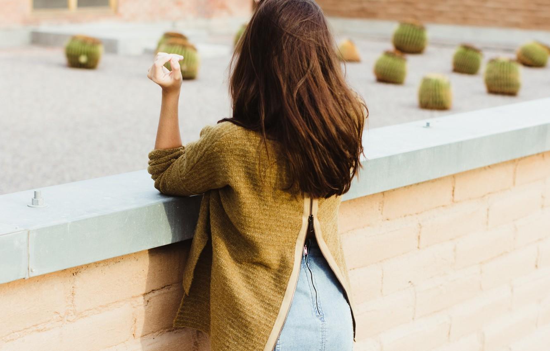 Photo wallpaper girl, back, brown hair