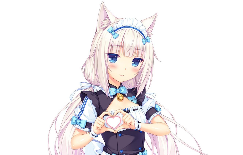 Photo wallpaper kawaii, girl, nothing, anime, cat, pretty, asian, cute, japanese, oriental, asiatic, sugoi, visual novel, uniform, …