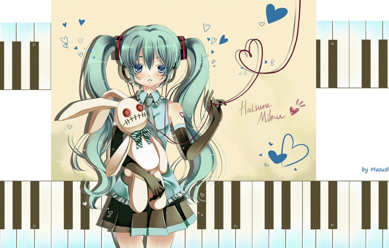 Photo wallpaper headphones, keys, tie, hearts, gloves, vocaloid, Hatsune Miku, Vocaloid, blue hair, art, red thread, white …