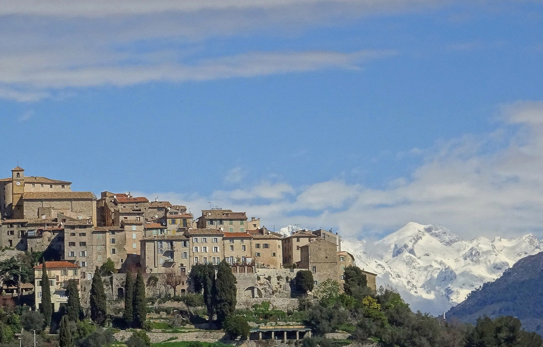Photo wallpaper landscape, mountains, France, home, Carros