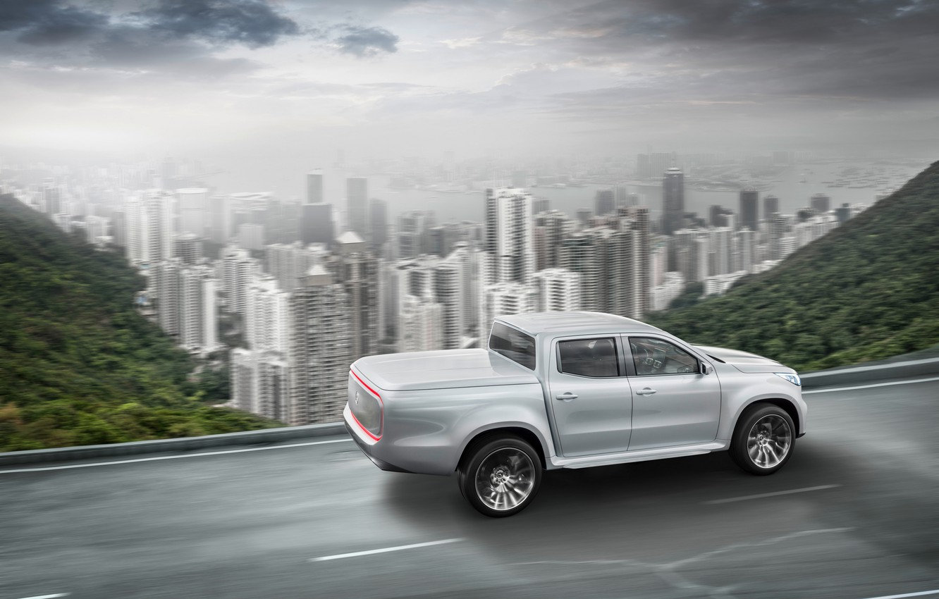 Photo wallpaper road, white, the sky, mountains, the city, movement, vegetation, Mercedes-Benz, pickup, X-Class Concept