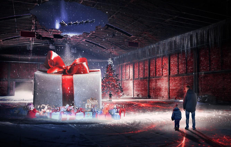 Photo wallpaper winter, holiday, gift, elf, tree, new year, Christmas, boy, art, male, rink, santa claus