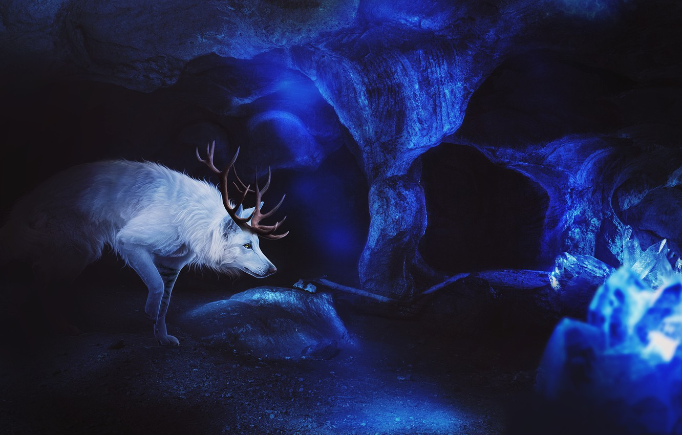 Photo wallpaper ice, wolf, fantasy, cave, by Fiirewolf