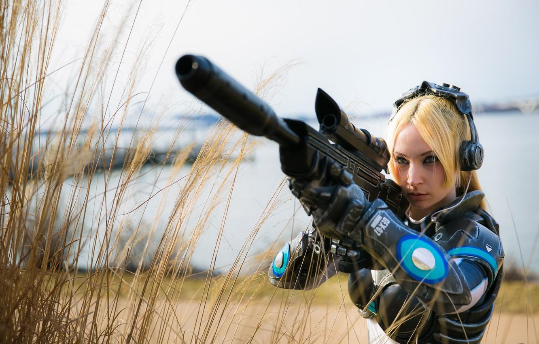Photo wallpaper gun, game, armor, weapon, pretty, StarCraft II, Nova, StarCraft 2, sniper, cosplay, blonde, StarCraft, bishojo, …