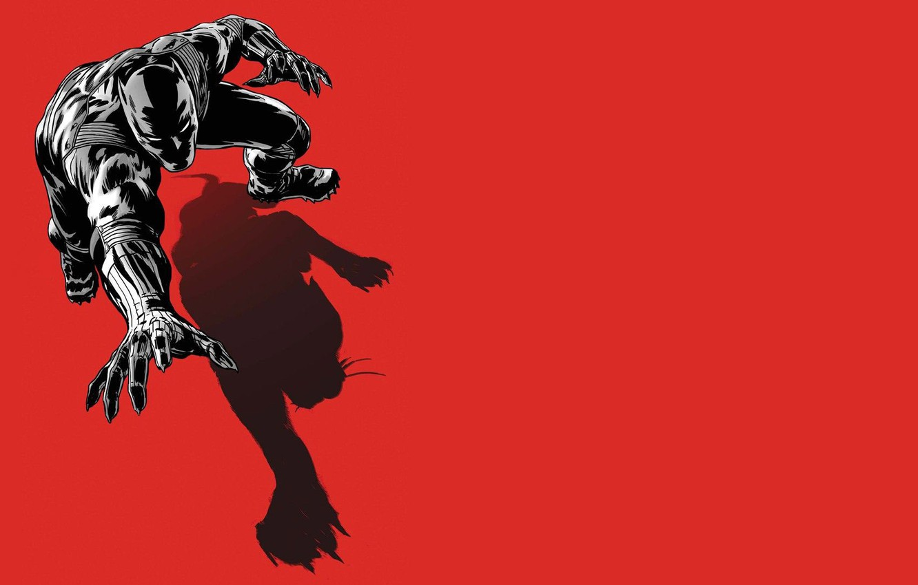 Photo wallpaper shadow, art, costume, red background, art, Marvel, comic, symbolism, Black Panther, black Panther