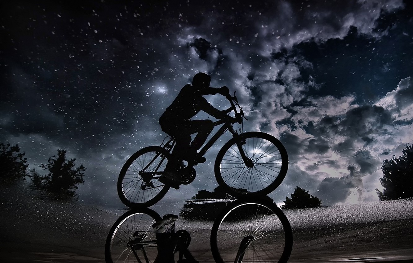 Photo wallpaper the sky, clouds, night, reflection, puddle, cyclist