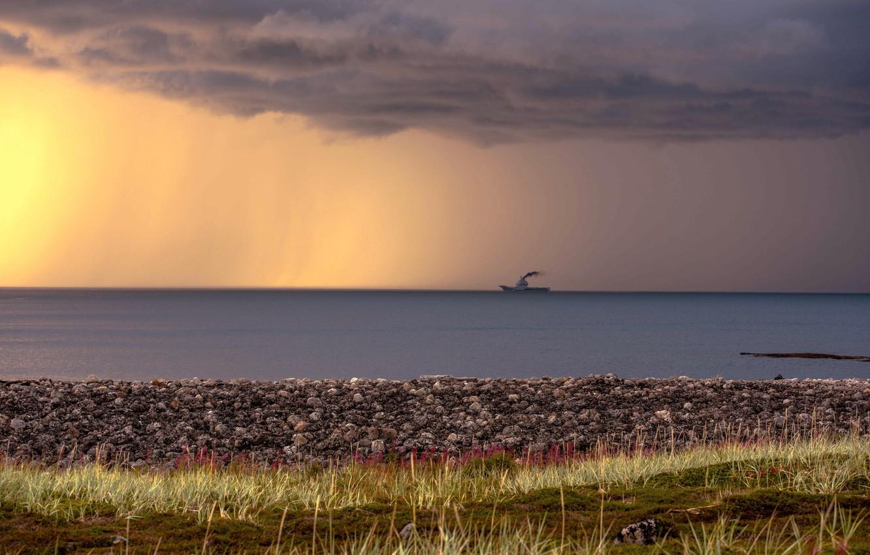 Photo wallpaper sea, the sky, ship, North