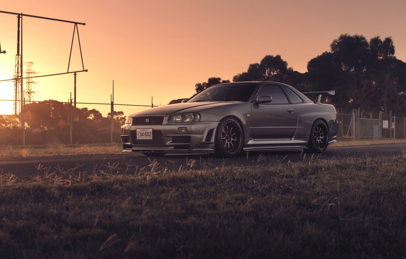 Photo wallpaper Nissan, Car, Front, Skyline, Sport, R34