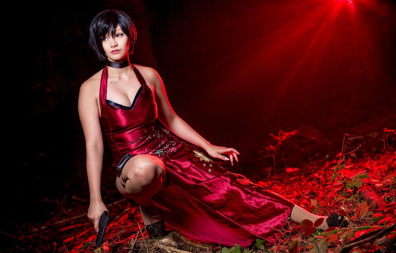 Photo wallpaper red, pistol, game, dress, weapon, spy, Resident Evil, Umbrella, cosplay, brunette, asian, Biohazard, red dress, …