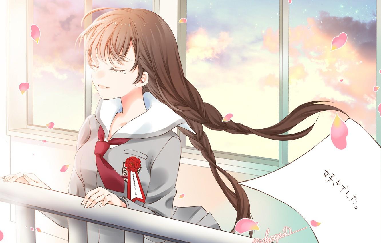 Photo wallpaper anime, art, girl, braids