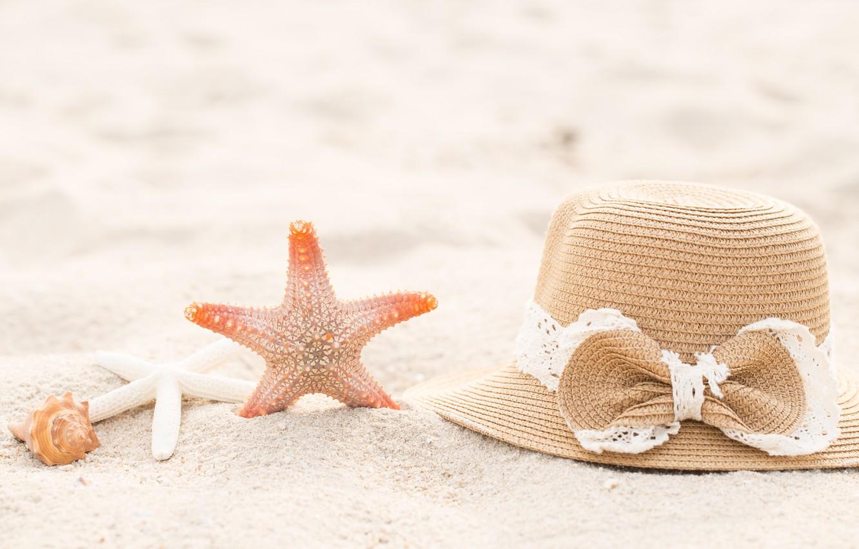 Photo wallpaper Nature, Beach, Shell, Hat, List, Starfish