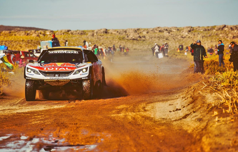 Photo wallpaper Sand, Sport, Speed, People, Race, Peugeot, Lights, Red Bull, Rally, Dakar, Dakar, Rally, Sport, The …