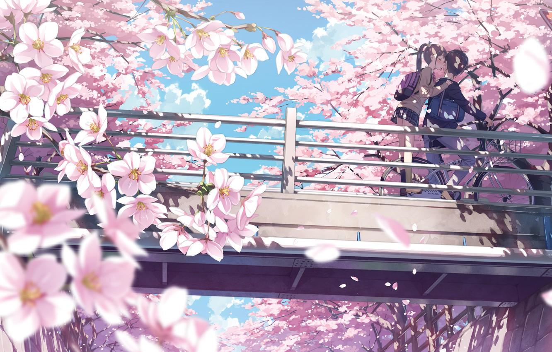Photo wallpaper Kiss, Spring, Sakura, Pair, Art, Kantoku