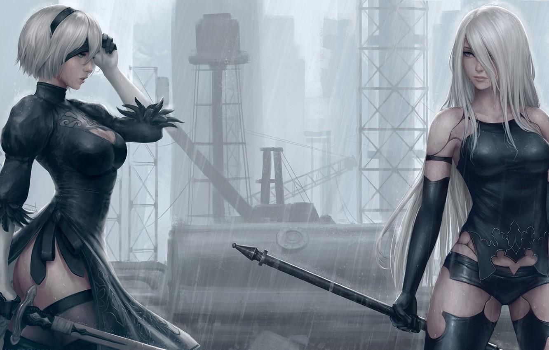 Photo wallpaper sword, game, ass, robot, rain, long hair, mecha, weapon, boobs, big, breast, katana, ken, Nier, …