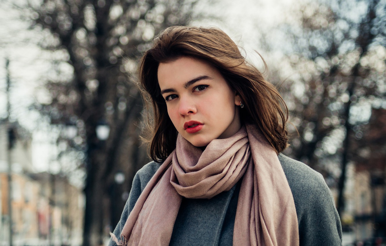 Photo wallpaper city, girl, fashion, young, blue, model, street, pretty, mood, coat, spring, look, wind, cute, town, …