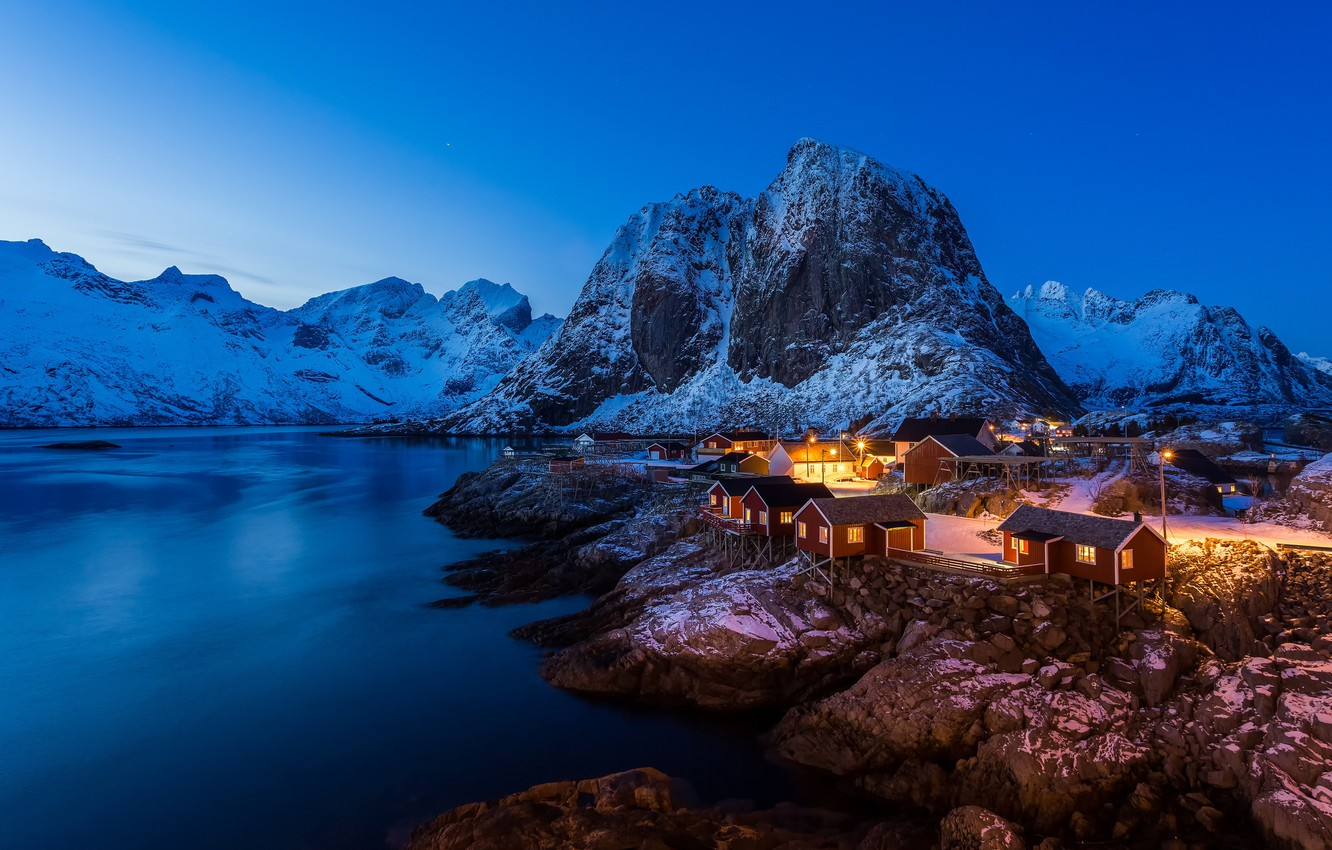 Photo wallpaper winter, light, snow, mountains, rocks, home, the fjord