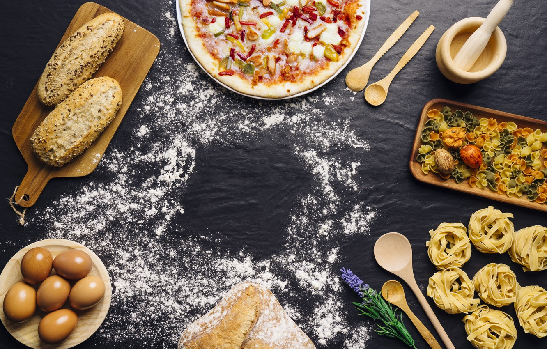 Photo wallpaper food, eggs, bread, pizza, food, pizza, flour,