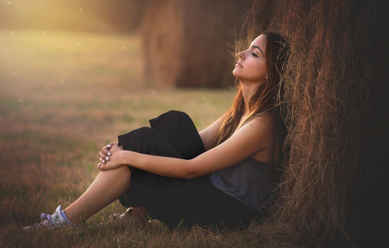 Photo wallpaper girl, mood, stack, brunette, hay, straw, sitting, haystack