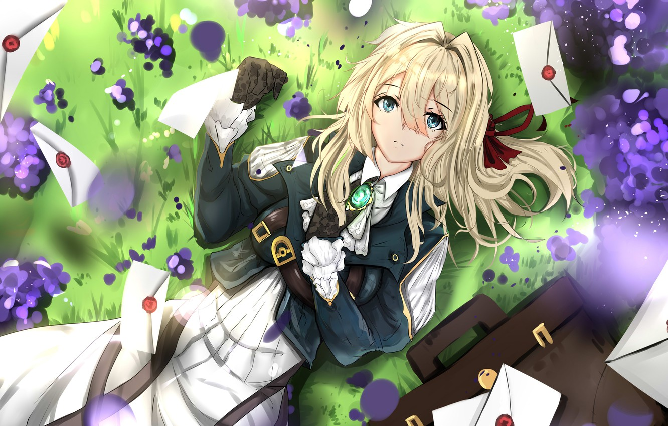 Photo wallpaper grass, field, anime, letters, violet evergarden