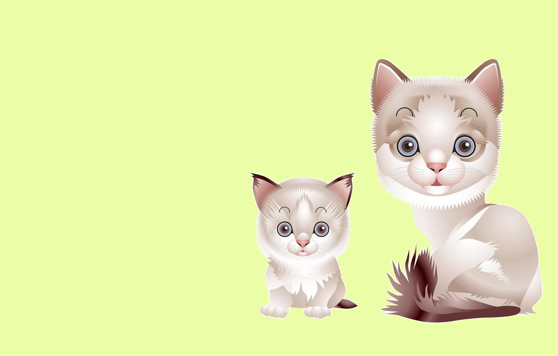 Photo wallpaper cat, vector, baby, art, kitty, mom, children's