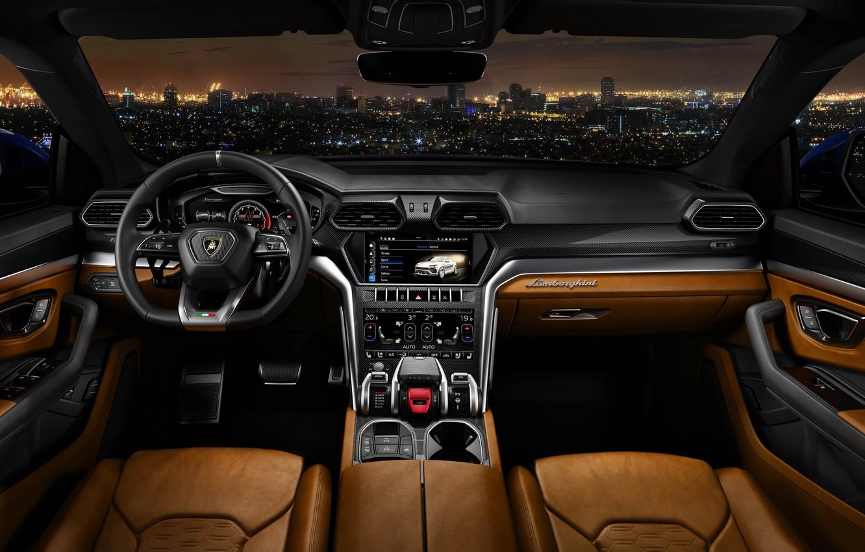 Photo wallpaper Road, Lamborghini, Interior, 2018, Urus