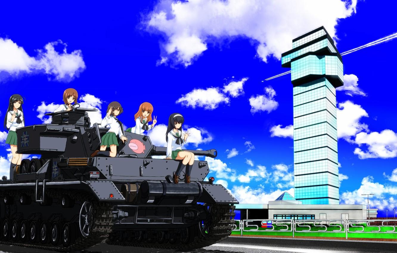 Photo wallpaper kawaii, girl, weapon, anime, cute, tank, japanese, Girls and Panzer, seifuku
