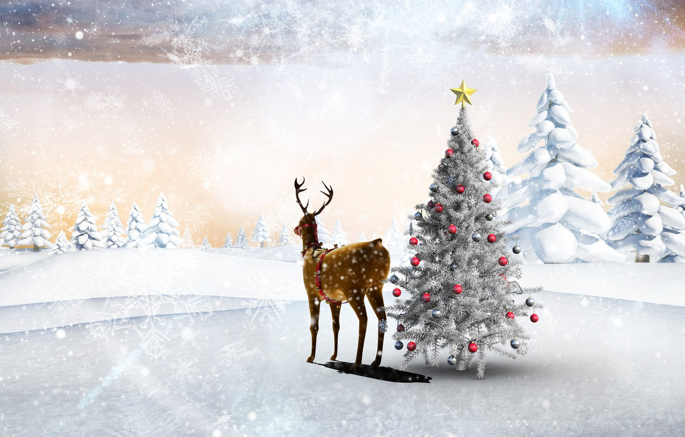 Photo wallpaper winter, forest, snow, trees, snowflakes, holiday, balls, glade, toys, star, new year, deer, the snow, …