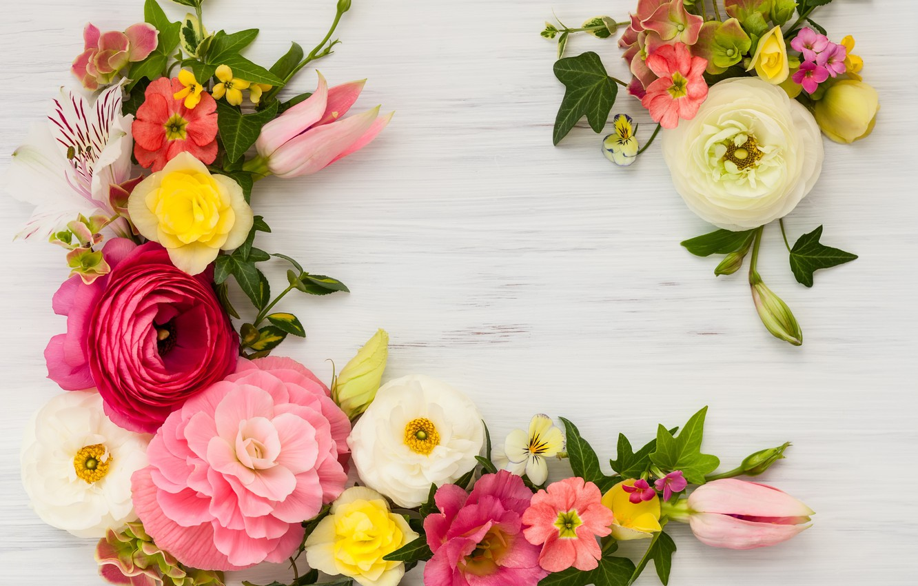 Photo wallpaper flowers, wood, pink, flowers, beautiful, composition, frame, floral