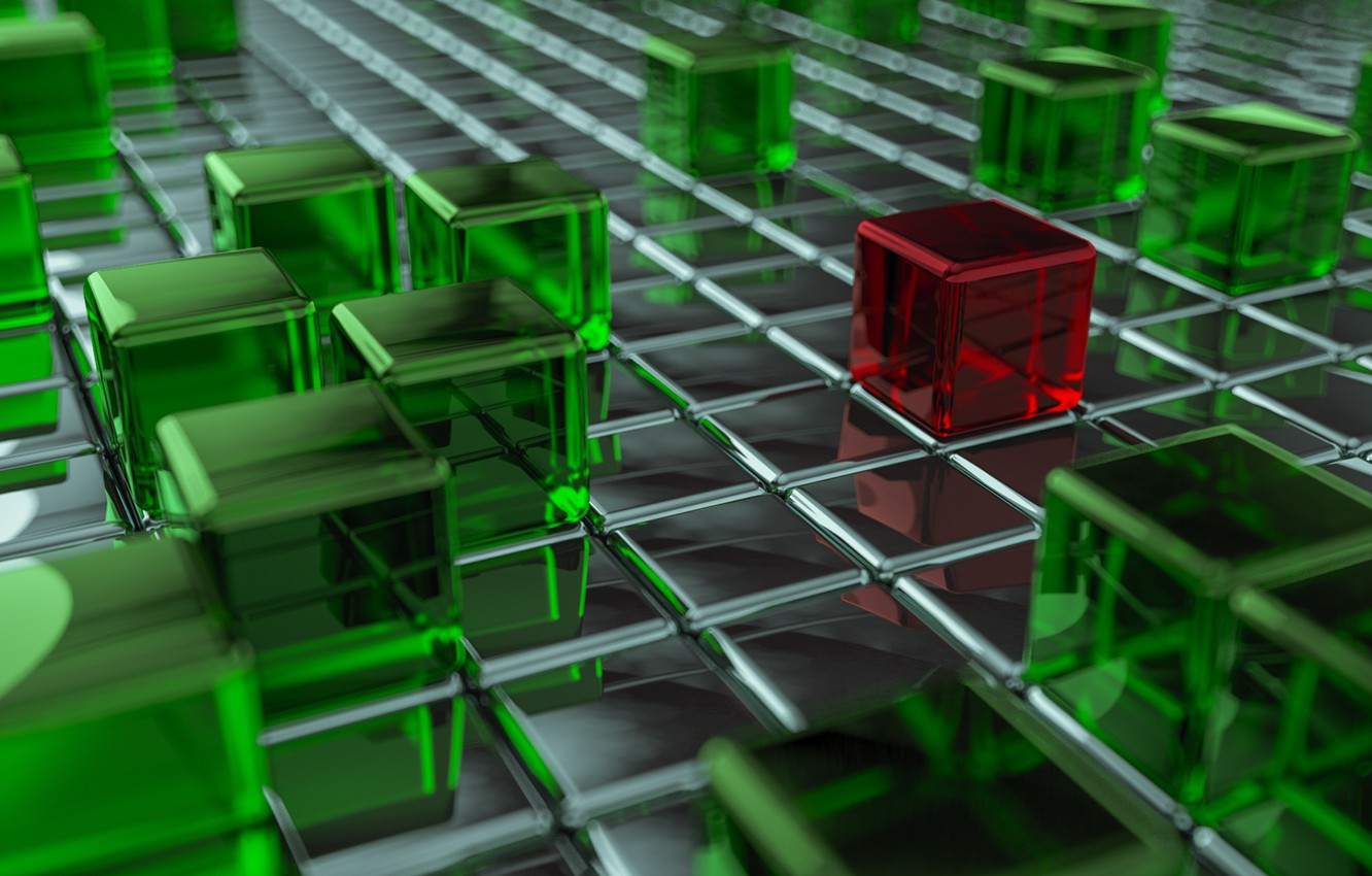 Photo wallpaper red, green, cubes, the difference, stands out from the crowd