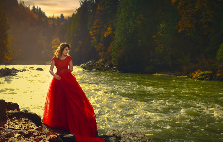 Photo wallpaper girl, trees, river, Asian, red dress, Wora Tippayapaisal