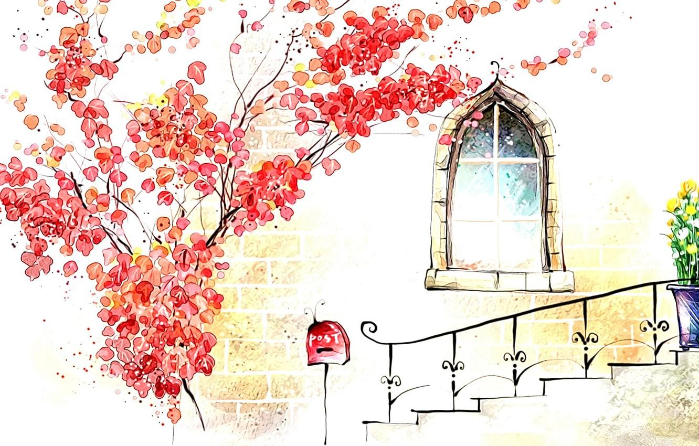 Photo wallpaper autumn, figure, window, art, watercolor, picture, porch, tree