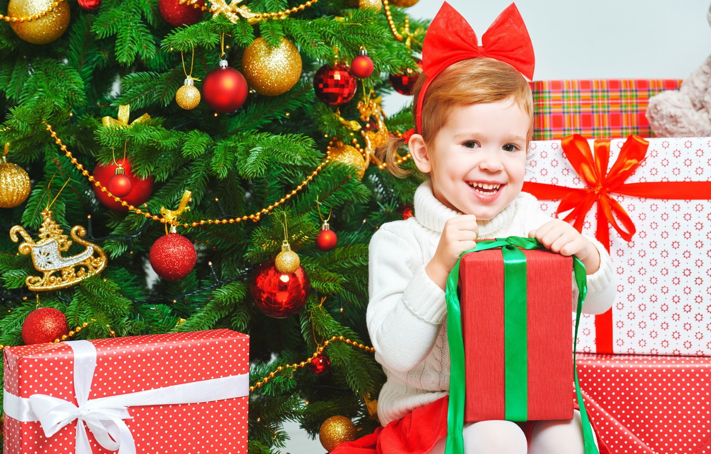Photo wallpaper joy, gift, tree, girl, year, new