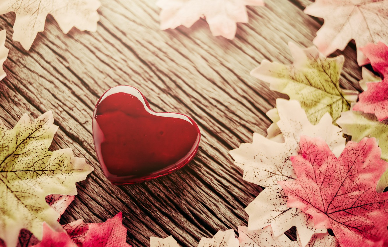 Photo wallpaper autumn, leaves, background, heart