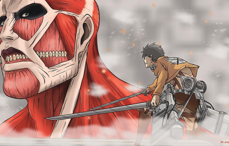 Wallpaper Anime Art Titan Shingeki No Kyojin Eren Attack Of The