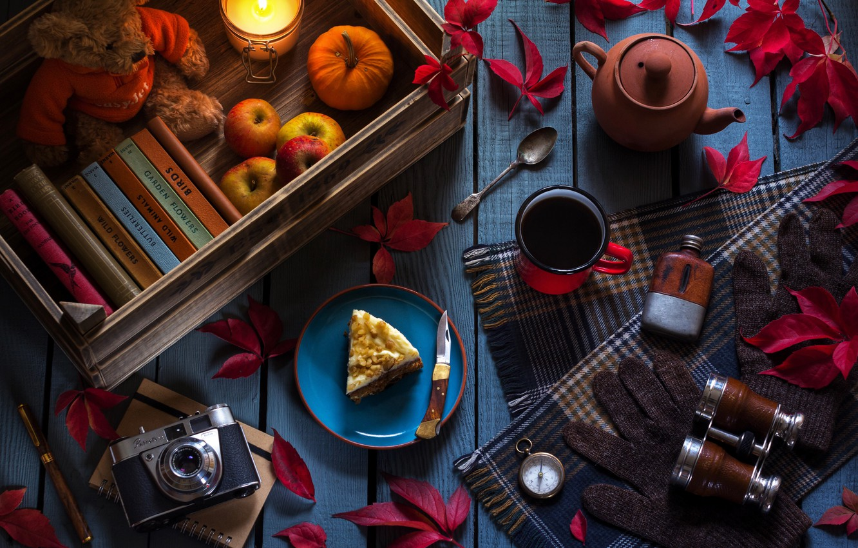 Photo wallpaper leaves, tea, apples, books, candle, kettle, the camera, mug, binoculars, gloves, cake, still life, compass, …