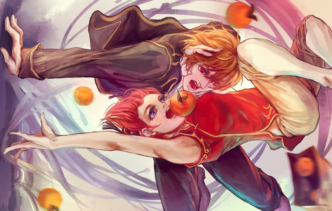 Photo wallpaper oranges, hands, package, fight, vortex, red, two, Okita Souji, Gintama, Kagura, Gintama, the guy with …