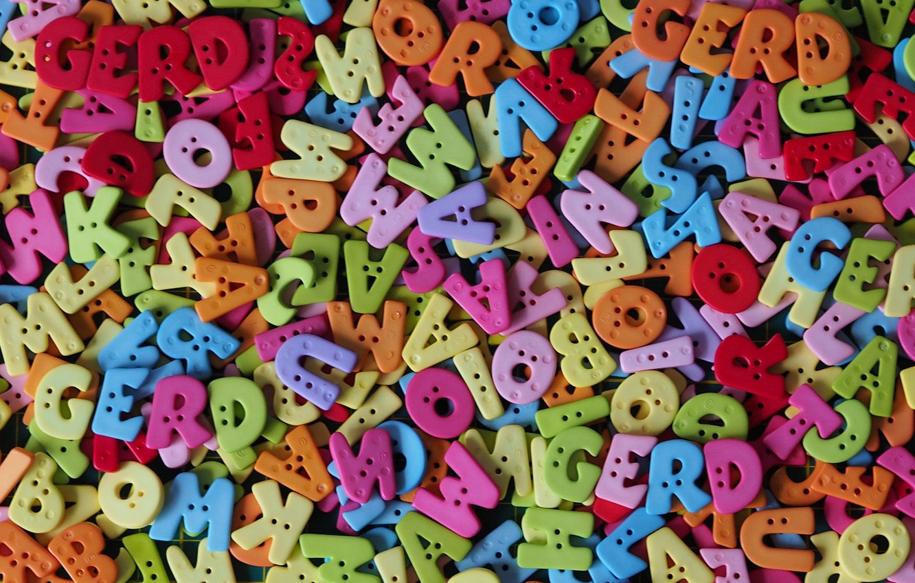 Photo wallpaper letters, texture, colorful