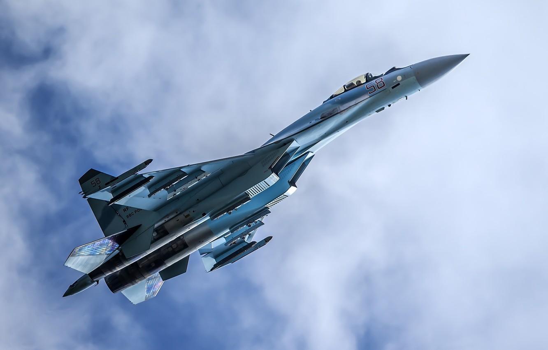 Photo wallpaper fighter, flight, Su-35, multipurpose