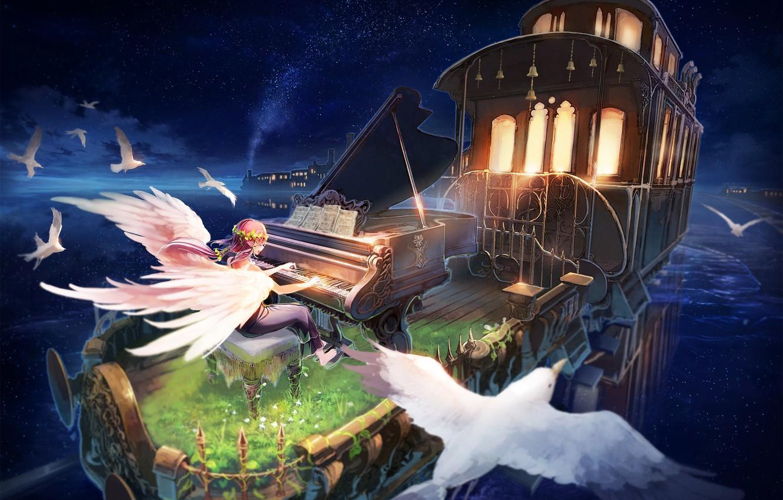 Photo wallpaper girl, birds, angel, anime, piano, the car