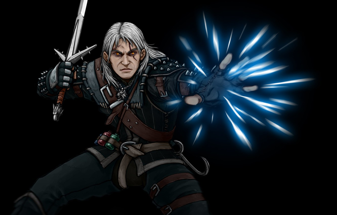 Photo wallpaper magic, sword, art, the witcher, the Witcher, Geralt