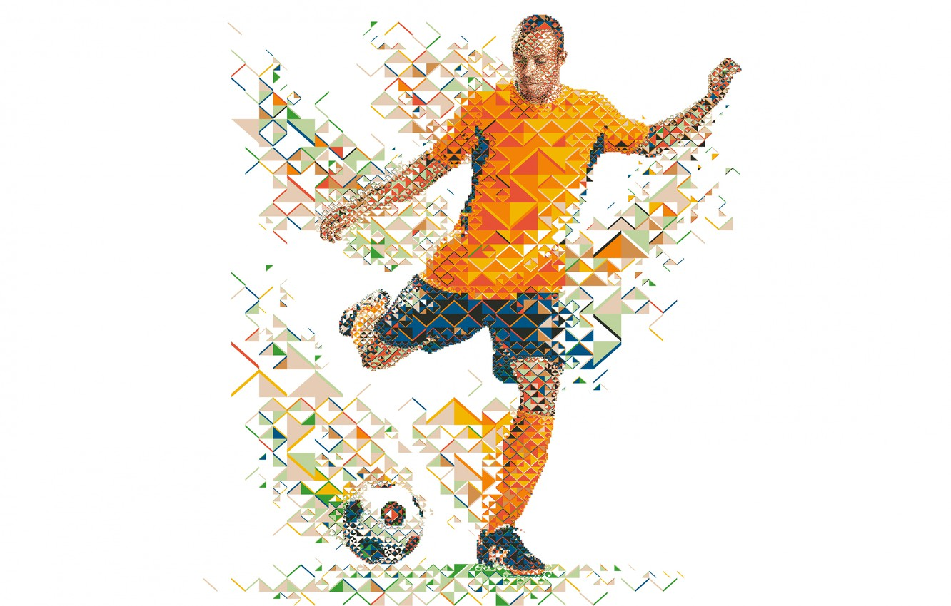 Photo wallpaper football, the ball, player, soccer, low poly