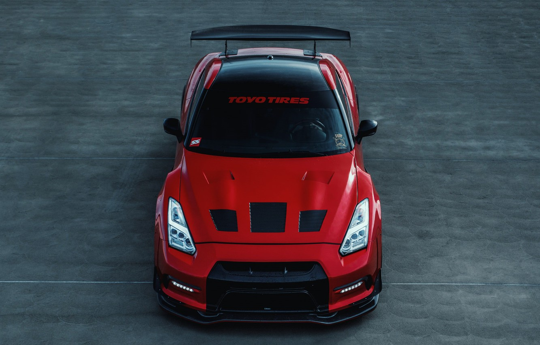 Photo wallpaper GTR, Nissan, R35, RED, Asphalt, Toyo
