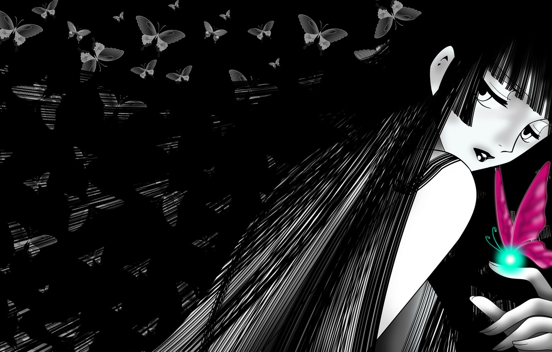 Photo wallpaper look, girl, butterfly, hair, anime, xxxHolic, Triplecalc