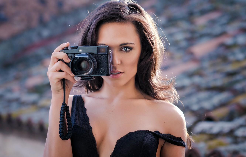Photo wallpaper girl, cleavage, long hair, dress, breast, photo, photographer, blue eyes, camera, model, lips, face, brunette, …