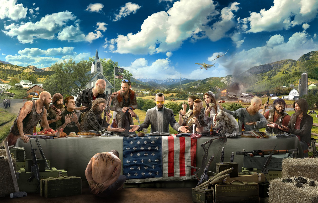 Wallpaper Clouds The Plane Weapons Table People Flag Bear Art Church The Bandits Far Cry 5 Images For Desktop Section Igry Download