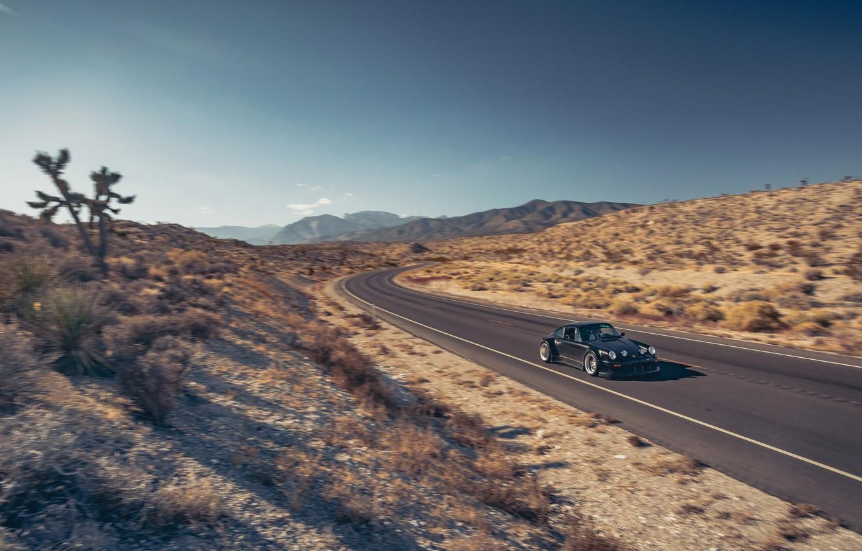 Photo wallpaper Road, Mountains, 911, Porsche, Desert, Speed, Karera, Porsche, Carrera, 964, RWB, 1988, Rough, World, Term, …