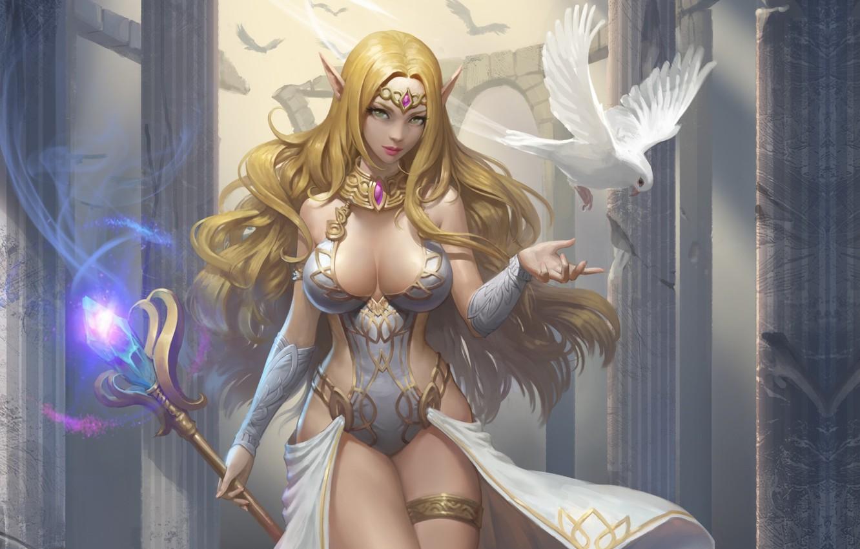 Photo wallpaper girl, elf, dove, art, fantasy, elf, healer, BumJin Kim