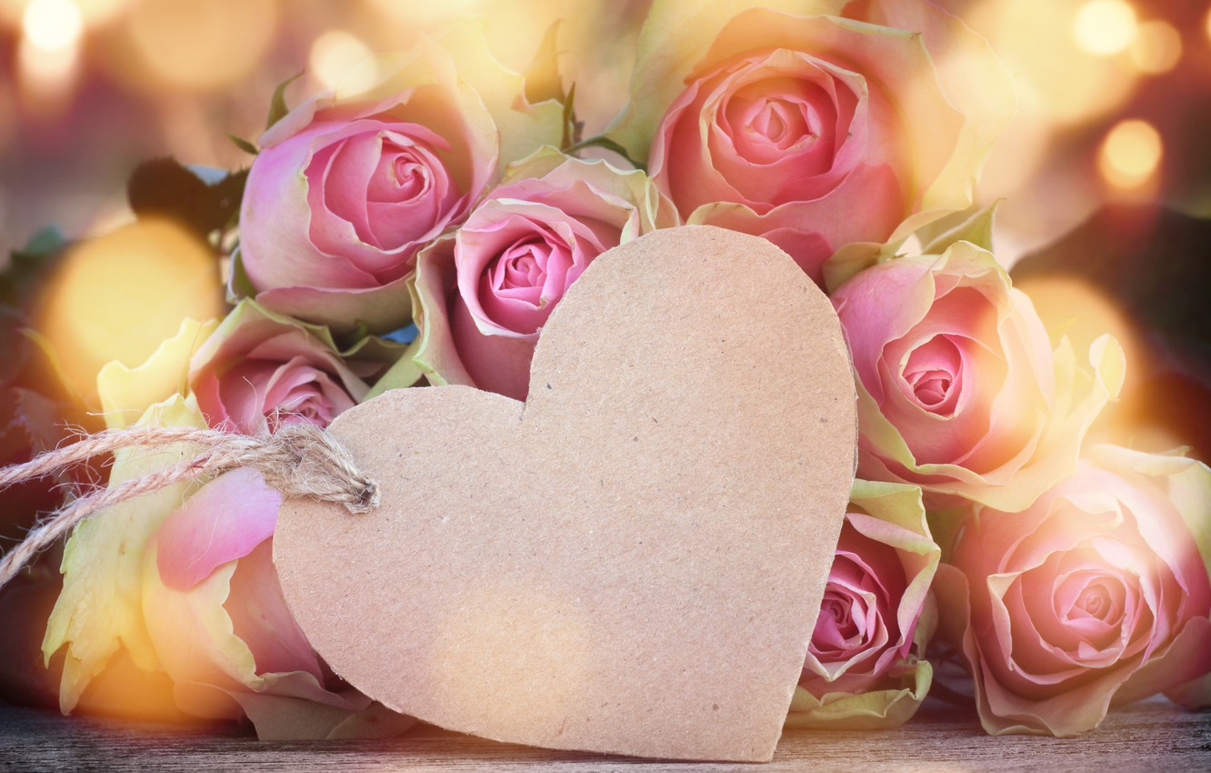 Photo wallpaper roses, love, buds, heart, pink, flowers, romantic, roses, valentine`s day
