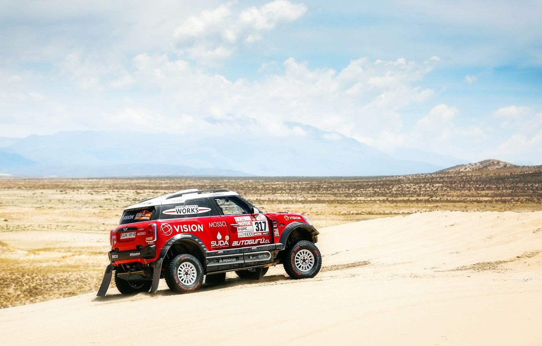 Photo wallpaper Sand, Red, Mini, Sport, Desert, Speed, Race, Rally, Dakar, Dakar, SUV, Rally, X-Raid Team, MINI …